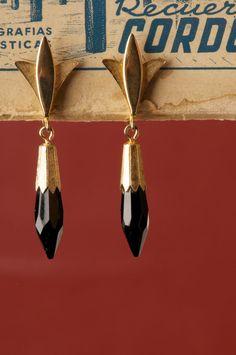 Vintage Emmons Jet Black Pointy Dangle Spike Earrings