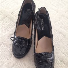 Michael Kors Patent Leather Loafer Heels Beautiful pair of black Michael Kors patent leather loafer heels in 7.5M. Worn only a few times as seen in the pictures. Minor inner scuffs. Michael Kors Shoes Heels