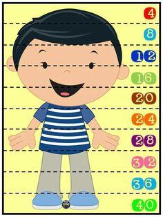 Rompecabezas numéricos para niños. Conteo de 4 en 4. Plastificar y recortar por la línea punteada.