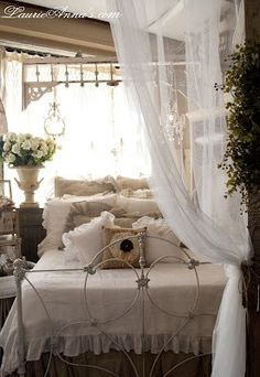 The relaxing and romantic tone of the shabby chic style makes it a popular choice for bedrooms, after all shabby chic bedroom furniture is all about non fussy elegance. White shabby chic furniture is generally the best choice for the… Continue Reading → Romantic Country Bedrooms, Romantic Shabby Chic, Vintage Shabby Chic, Shabby Chic Style, Beautiful Bedrooms, Shabby Chic Decor, Romantic Bedding, Shabby Chic Iron Bed, Shabby Chic On A Budget