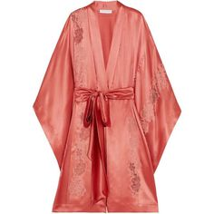 Carine Gilson Chantilly lace-trimmed silk-satin robe (€2.105) via Polyvore featuring intimates, robes, pink, dressing gown, lace trim robe, silk satin robe, pink bathrobe e lace trim slip