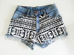 Hey, I found this really awesome Etsy listing at https://www.etsy.com/listing/161870665/high-waisted-denim-shorts-tribal-pattern