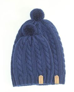 Hand knitted merino wool matching hats for baby and daddy mommy.  dewknit   20c24be9b467
