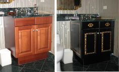 Richard Smith Studios / Before and After of a Vanity Black Laquer with Gold Leaf Tromp L'Oeil