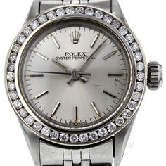 Rolex Pre-owned Rolex Oyster Perpetual Stainless Steel Diamond 6718... ($2,895) ❤ liked on Polyvore featuring jewelry, watches, buckle bracelet, bracelet jewelry, stainless steel watches, diamond bezel bracelet et diamond watches