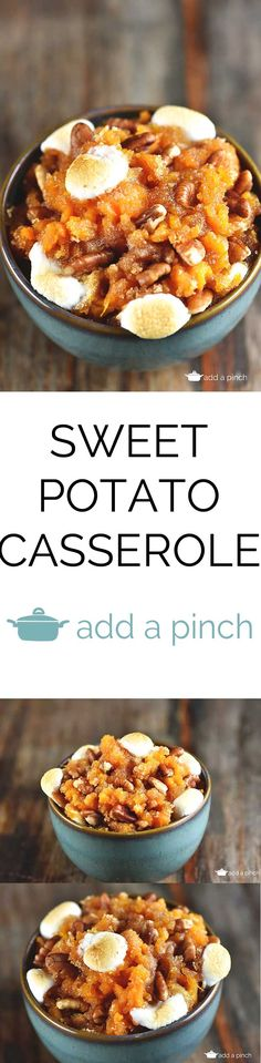 Sweet Potato Casserole is a southern classic. With a rich, buttery taste and sweet topping, sweet potato casserole makes a perfect side dish or a dessert. Or both! from addapinch.com