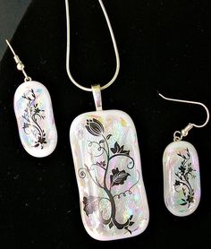 Black and White Fused Glass Sterling Silver Jewelry Set by HummingbirdArtGlass