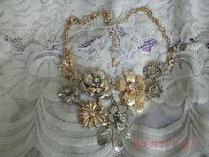 METAL Rhinestone Bib Flower Necklace VCLM Signed Gold by janjems