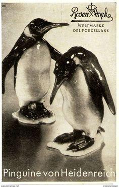 Original-Werbung/ Anzeige 1940 - PINGUINE VON HEIDENREICH / ROSENTHAL PORZELLAN - Ca. 65 X 110 Mm - Werbung