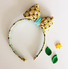 Headband with puffy hair bow - Flower theme by customadesign on Etsy