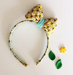 Headband with puffy hair bow - Flower theme by customadesign on Etsy
