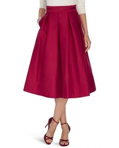 Pleated perfection flares out in classic sophistication across this taffeta skirt with modest midi length. Stylist Note: Pair with a polka-dotted button up blouse and pointed pumps for a look that channels 1950's glam.