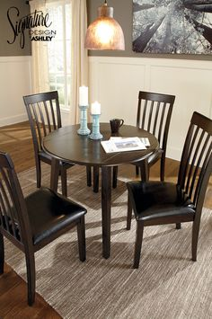 Hammis Round Drop Leaf Dining Room Table And Chairs
