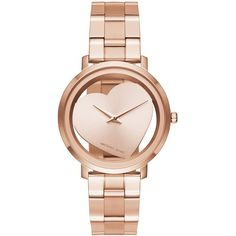 Michael Kors Jaryn Stainless Steel Watch (1,695 GTQ) ❤ liked on Polyvore featuring jewelry, watches, rose gold, rose gold tone jewelry, michael kors, michael kors jewelry, heart shaped jewelry and stainless steel jewelry