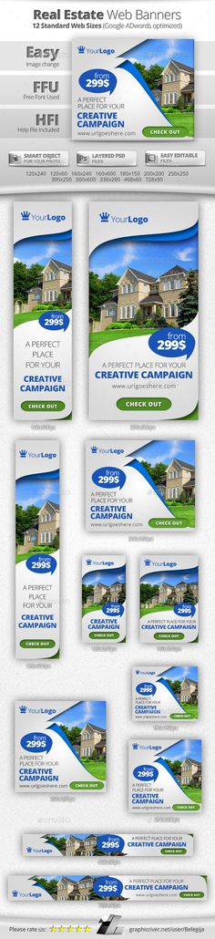 Buy Multipurpose Real Estate Web Banners by Belegija on GraphicRiver. Unique and professional design. Real Estate Advertising, Real Estate Marketing, Ad Design, Graphic Design, Cover Design, Banners Web, Folders, Logos Retro, Brochure Layout