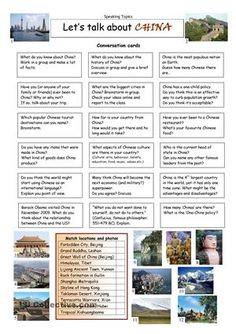 The world´s new superpower? A global manipulator or a world saviour? Discuss and enhance your knowledge with this worksheet which contains 18 conversation cards and a matching exercise with descriptions and pictures. The cards can be cut out if desired and be used as conversation questions. Can be used with both teens and adults.  - ESL worksheets