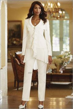 2015 Custom Made Ivory Chiffon Mother Of the Bride Jacket Pants Suits Long Sleeve Wedding Party Suit For Mother Dress Chiffon High Quality Mother Of The Bride Jackets, Mother Of Bride Outfits, Mother Of Groom Dresses, Mothers Dresses, Mother Bride, Bride Dresses, Ivory Dresses, Bridesmaid Dresses, Formal Dresses