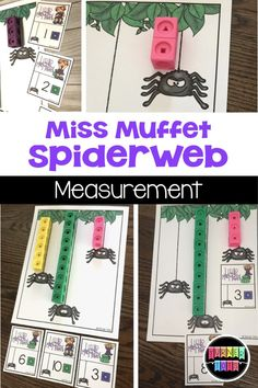 Rhymes Activities to Get Preschoolers in the Rhythm of Learning Miss Muffet Spiderweb Measurement Activity for Preschoolers using linking cubesMiss Muffet Spiderweb Measurement Activity for Preschoolers using linking cubes Nursery Rhymes Kindergarten, Rhyming Kindergarten, Nursery Rhyme Crafts, Measurement Kindergarten, Nursery Rhyme Theme, Measurement Activities, Nursery Activities, Rhyming Activities, Preschool Themes