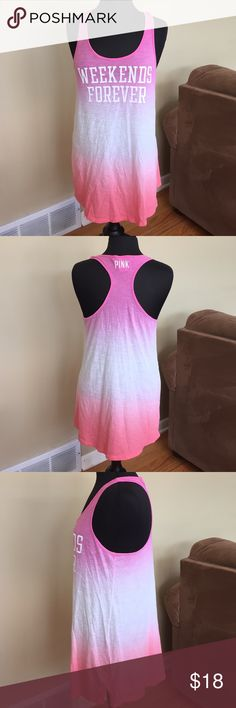 Pink VS Weekend Forever Sleeveless Top S Pink VIctoria Secret Weekend Forever Top /  Beach Cover  Up.  Gently Worn. No rips or Stains. Size Small PINK Victoria's Secret Tops Tank Tops