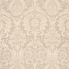 Schumacher Anna Damask Greige Fabric