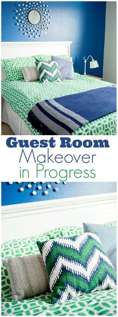 Guest room makeover progress. Fun paint colors for a guest room.