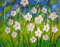 70% de descuento pintura al óleo originales cómo vivir sin ti 24 x 24 espátula Textured Daisy blanco azul verde arte colorido por Marchella