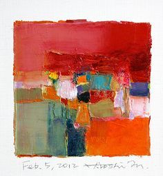 Hiroshi Matsumoto. Unlike those extreme large-sized ones, these small 9×9 painting, are intriguingly less common in abstract artwork. No other abstract artists have done it so passionately than this oil painter from Kobe city in Japan. His style of paintings characterized with bold brush strokes just fit into small canvas. Using oil medium laid on thick plaster, ever creamier than cake frosting. Presentation is a fusion of minimalism and simplicity.