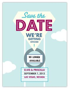 Retro style save the date postcard perfect for a Vegas wedding $2.49