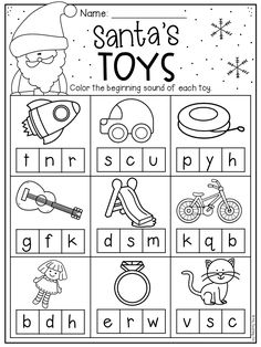 Beginning sounds worksheets for preschool and kindergarten; students match letters representing the beginning sound of words to pictures. Other phonics . Christmas Worksheets Kindergarten, Preschool Christmas, Kindergarten Reading, Worksheets For Kids, Christmas Worksheets For Kindergarten, Christmas Activities, Beginning Sounds Worksheets, Christmas Writing, Teacher Problems