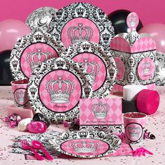 Elegant Princess Damask Deluxe Party Pack for 8 & 8 Favor Boxes. $77.99