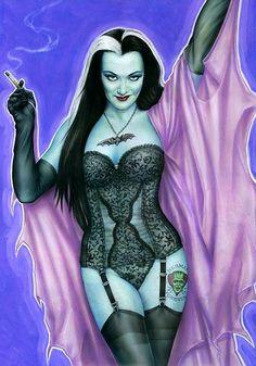Los Addams, Munsters Tv Show, Nylons, Lily Munster, Yvonne De Carlo, Pulp Fiction Book, Beautiful Dark Art, Horror Artwork, Tv Girls