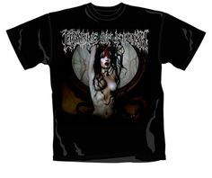 Cradle Of Filth Lilith T-Shirt.  Shirt from their track 'Lilith Immaculate'... Mental Lilith print. 100% black cotton shirt. Available in 4 sizes from S-XL. Cradle Of Filth are an English extreme metal band that formed in Suffolk in 1991. The band's musical style evolved from black metal, to a cleaner and more produced amalgam of gothic metal, symphonic black metal and other extreme metal styles.