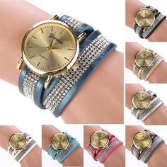 Synthetic Leather Sequins Button Round Wristwatch