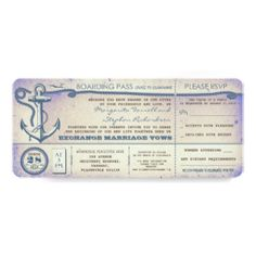 """wedding boarding pass-vintage tickets with RSVP 4"""" X 9.25"""" Invitation Card"""