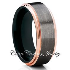 Gunmetal Tungsten Ring,Rose Gold Edges,Tungsten Wedding Bands,Unique Tungsten Ring,Brushed Finish,Comfort Fit Ring