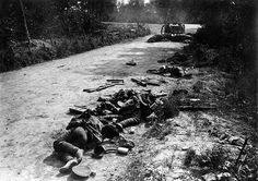 WWI, May 1917, Reims; The bodies of killed French soldiers lying abandoned in the street. -Getty