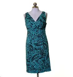 Jones New York Teal Green Black Artsy Print Cotton Sheath Dress Size 6 Stretch #JonesNewYork #Sheath #Casual