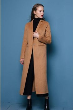 Wool and Cashmere Blend Long Coat