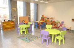 vista global de un aula de educación infantil con todos los materiales y mobiliario ordenados