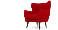 Inspired by the 1960s take on a classic eighteenth century design, the Kubrick Wing Back Chair in rose red makes a striking retro statement.
