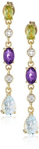 18k Yellow GoldPlated Sterling Silver MultiGemstone Linear Earrings -- Details can be found by clicking on the image.