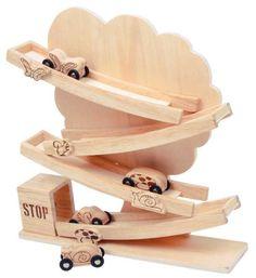 Dřevěné hračky - Dřevěný tobogán strom přírodní, Kuličková dráha