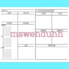 day on two page inserts design via wenduhh_plans