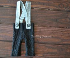 Newborn Photography Pants  Upcycled Soft Knit Black Pants with Gray Suspenders by ToodleBugCreations, $23.00