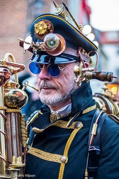 Steampunk  No ordinary bluetooth for this chap! His phone'll be ringing big time with an oldfashioned horn phone!