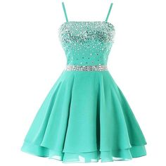 Icy Sun Women's A Line Chiffon Homecoming Dresses Strap Short Prom... ($65) ❤ liked on Polyvore featuring dresses, gowns, chiffon prom dresses, prom gowns, homecoming dresses, short homecoming dresses and green ball gown