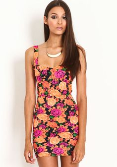FLORAL CAGED BODYCON DRESS