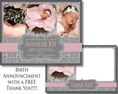 Baby Girl Birth Announcement with FREE thank you card!  Digital File - Print as many as you need!