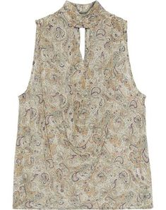 Shop on-sale Cutout draped printed silk-chiffon top. Browse other discount designer Sleeveless Top & more luxury fashion pieces at THE OUTNET Silk Chiffon, Chiffon Tops, Haute Hippie, Embellished Dress, Fashion Outlet, Hippie Style, Paisley Print, Silk Top, World Of Fashion