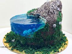Cake Decorating Designs, Cake Decorating Videos, Beautiful Cake Designs, Beautiful Cakes, Aqua Cake, 3d Jelly Cake, Birthday Cake Writing, Island Cake, Cake Decorating Techniques